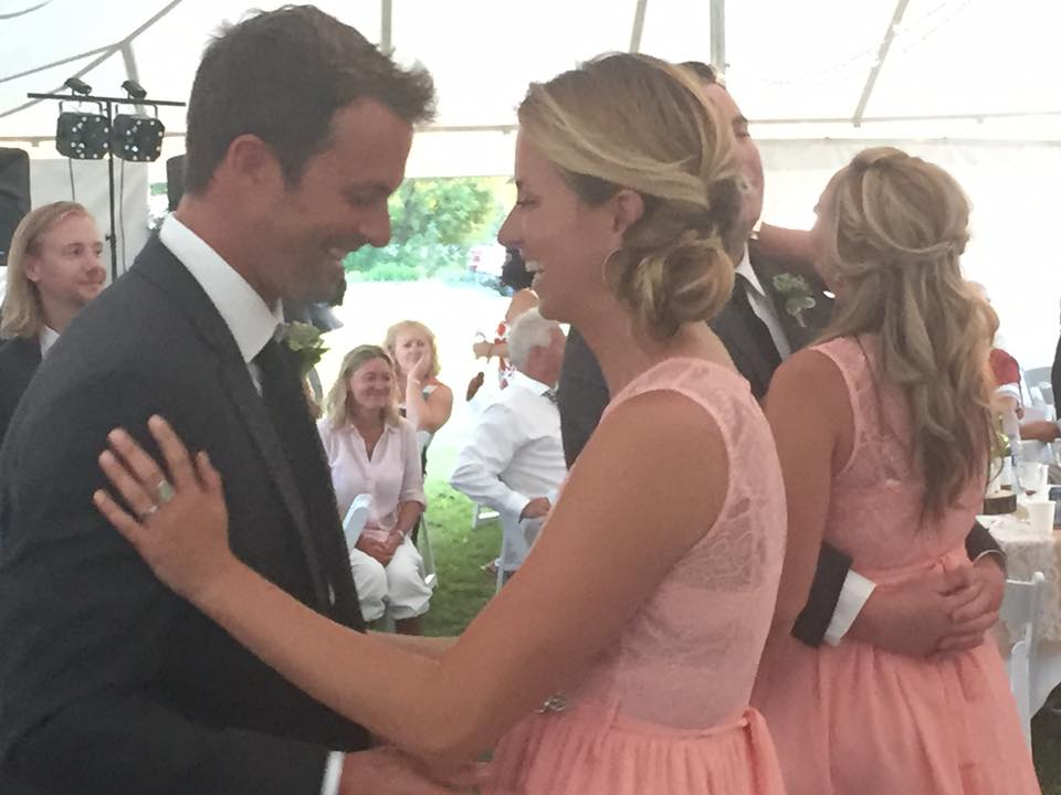 Carly with her husband Bo, dancing at her brother's wedding.