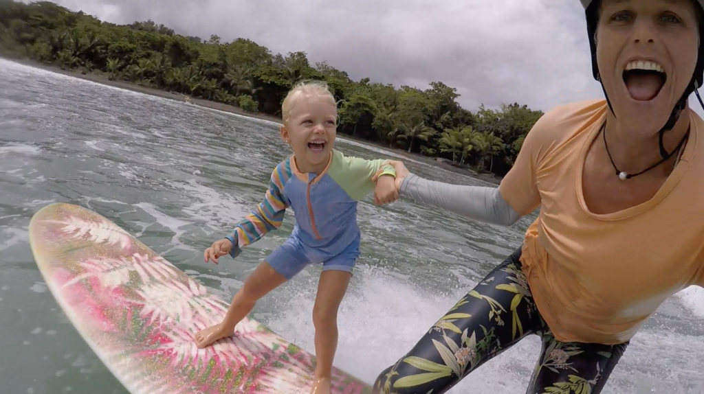 surfing with kids, teach your kids to surf, mother daughter, surf camp, family retreat, surf, travel, costa rica, surf with amigas, holly beck, luna suli