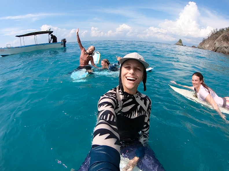 girls day out, surf trip, boat trip, costa rica, surf with amigas, holly beck, surf instructor, adventure