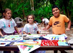 giving back with local kids in Costa Rica