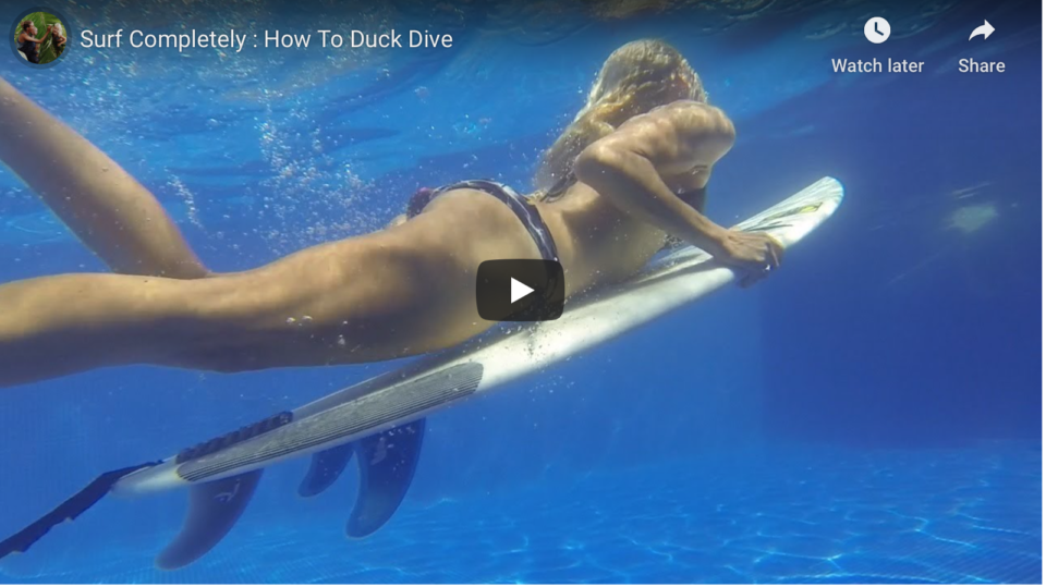 holly beck, duck dive, how to, surf with amigas, learn to surf, educational videos
