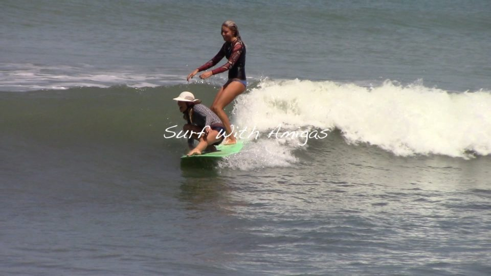 surf with amigas, learn to surf, surf yoga retreat, party wave, tandem